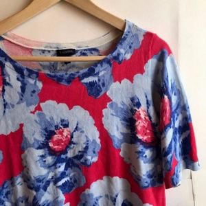 TALBOTS Pink Red Blue Floral Short Sleeve Blouse